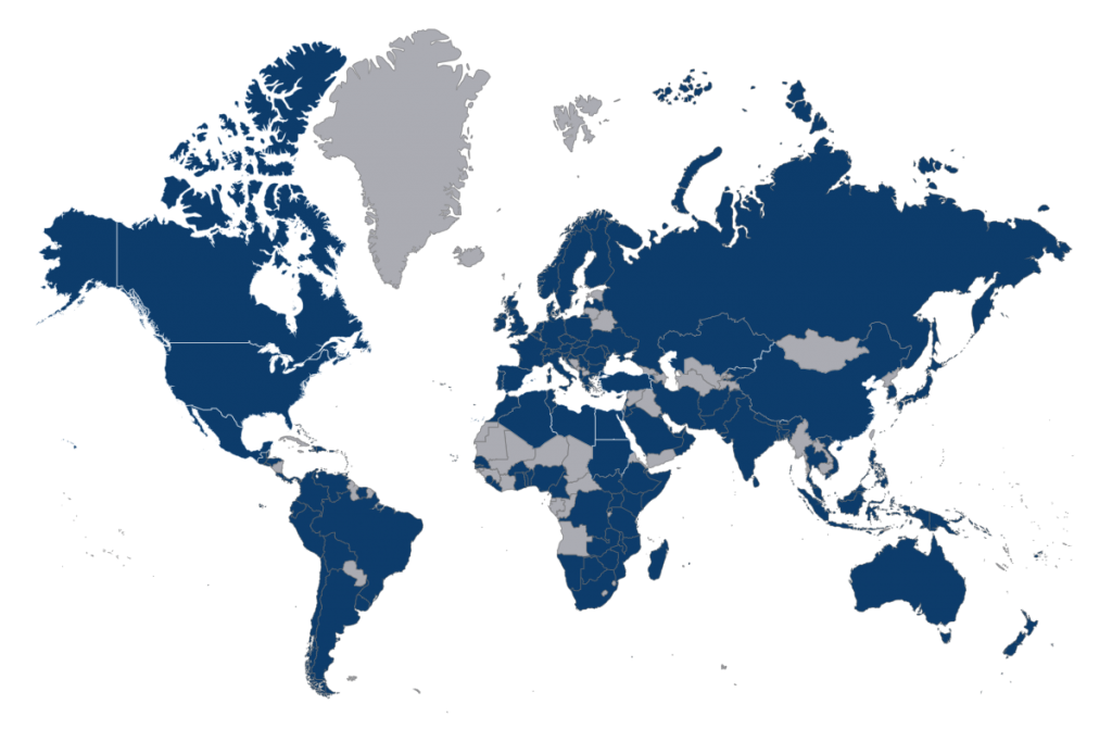 A World Map showing all of the EEC's Distance Learning Users.